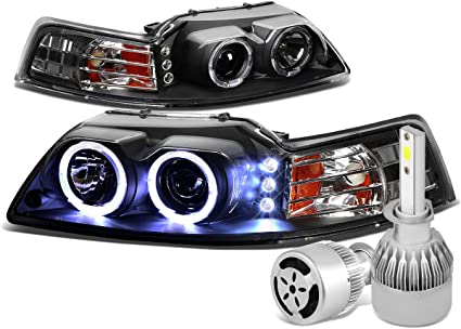 Ford Mustang sn-95 doble Halo Proyector + LED Faro (negro vivienda ...