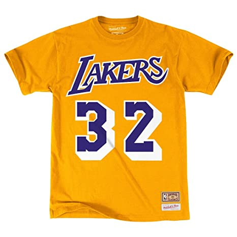 da6978a92 Mitchell   Ness Los Angeles Lakers Magic Johnson HWC Retro Name and Number  Tee (XX