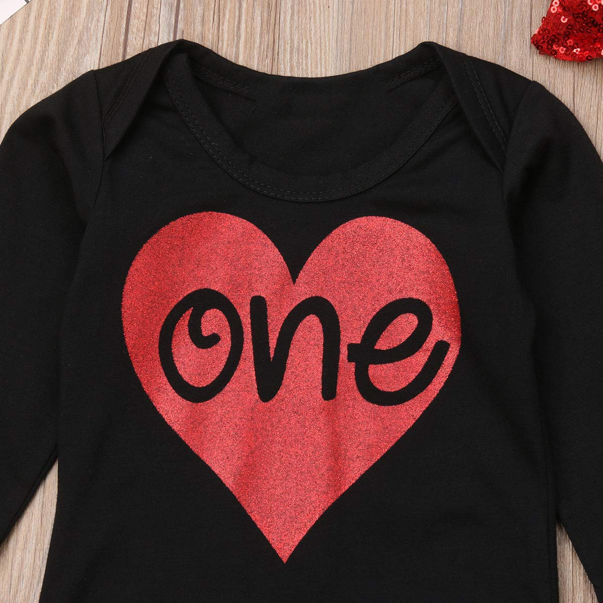 Stocking 4Pcs Baby Girls Red Heart Long Sleeve Black Romper Red Plaid Shirt Sequin Bowknot Outfits