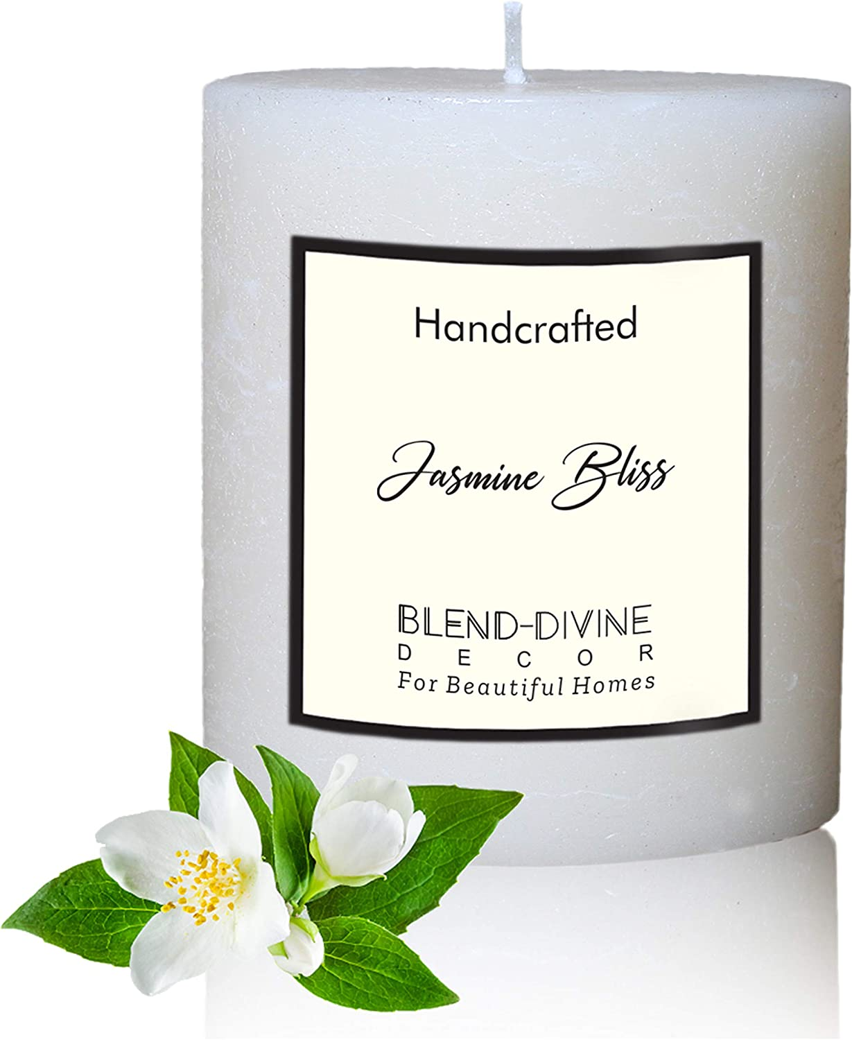 Blend-Divine Pillar Candle Scented Jasmine Bliss Dripless & Smokeless | Decoration Dinner Wedding Party Candles | Perfect Use for Home Décor - Church-Spa Candle, Restaurant | 420 gm- Set of 1