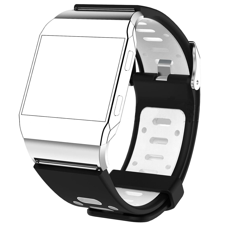 交換用バンドシリコンリストバンドブレスレットBand Strap for Fitbit Lonic Smart Watch ブラック+ホワイト ブラック+ホワイト B076Z7DBMW