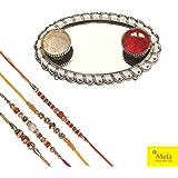 Mela Plastic Rakhi with Small Pooja Plate for Men (Multicolour, SM531100017) - Set of 4