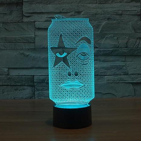 Wmshpeds botellas de blanco y negro 3D lámparas LED se ilumina la lámpara de regalo visual