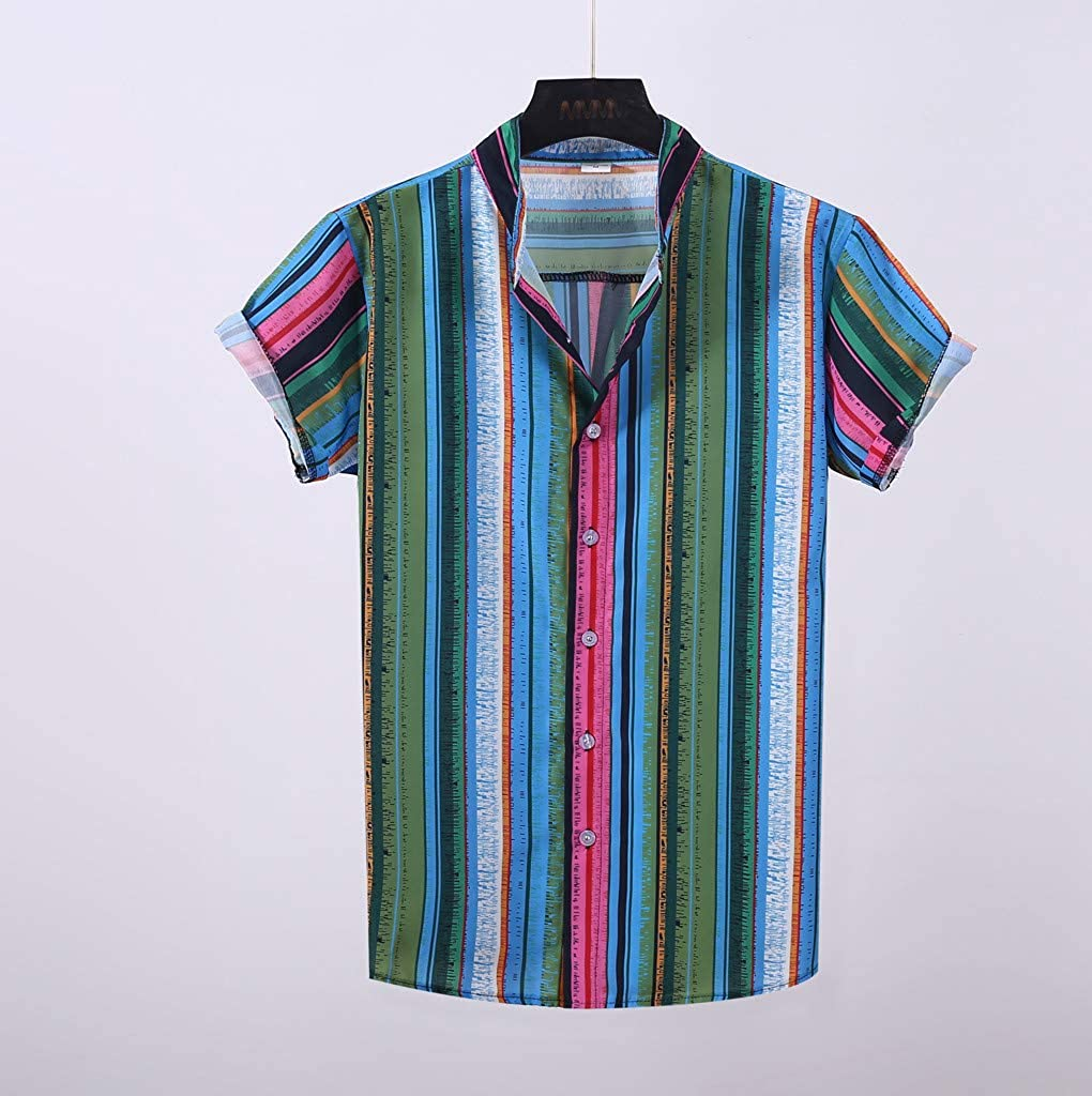 Mens Casual Shirts Summer Short Sleeve Colorful Stripes Printed T-Shirts Tops with Pocket