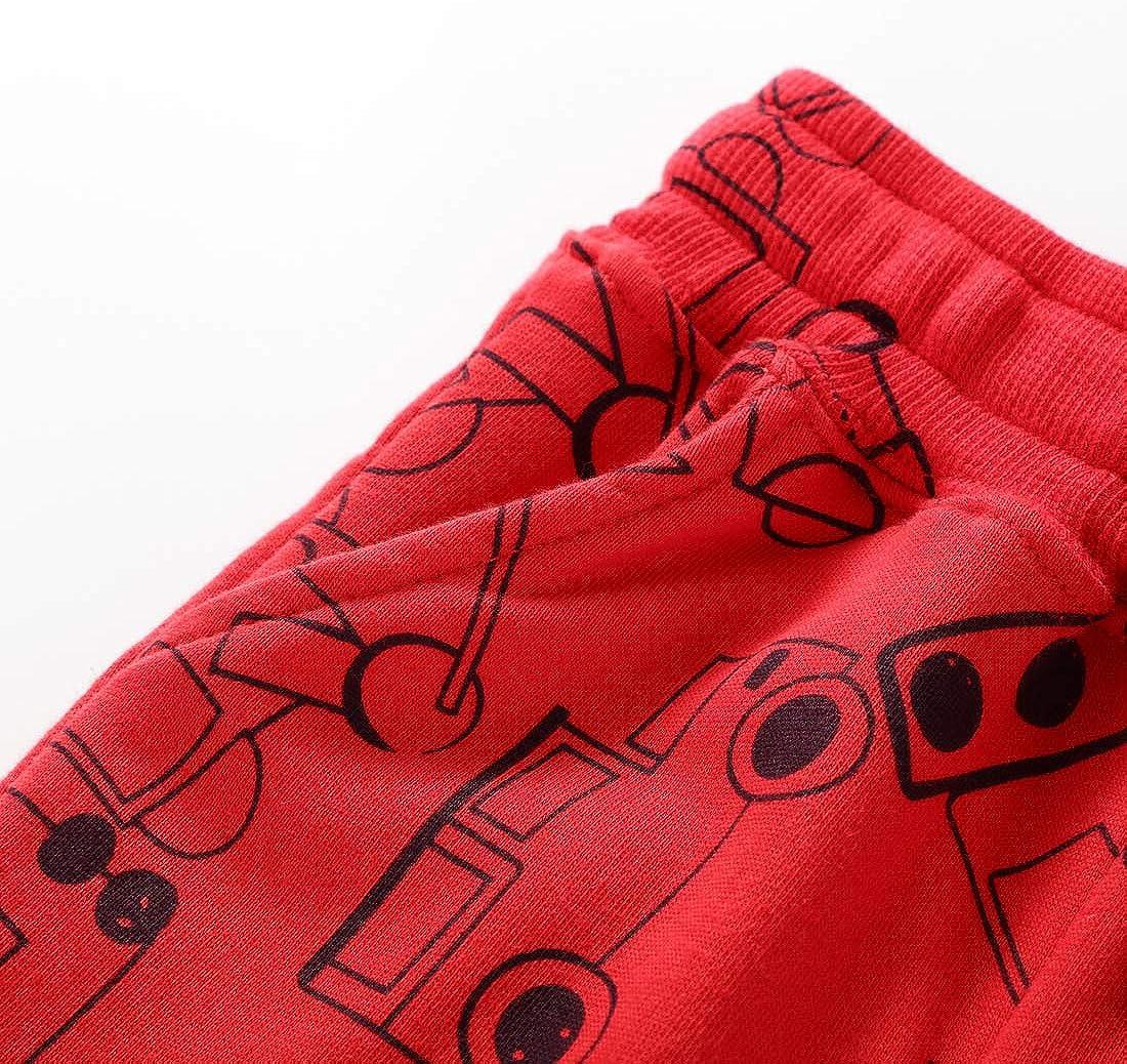 EISHOW Toddler Little Boys Girls Casual Pants Trouser Cartoon Print Cotton Running Sport Jogger Drawstring Elastic Sweatpants