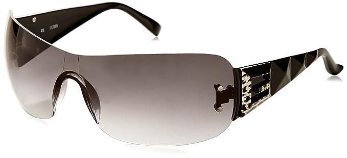 51ea63eeab Image Unavailable. Image not available for. Colour  Guess Women s Gradient  GU7142-BLK-35 Black Shield Sunglasses