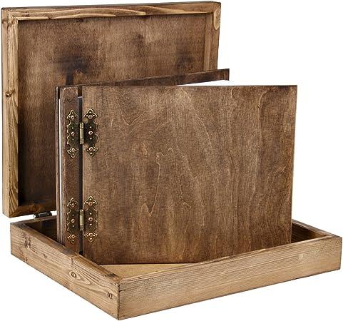25 hojas de cartón de colour blanco de madera con diseño de álbum de fotos con diseño de juego de caja de madera: Amazon.es: Hogar