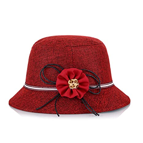 Hosaire 1x Sombreros del Sol Anudado Flores para Mujer Gorras de Visera UPF 50+ Protección