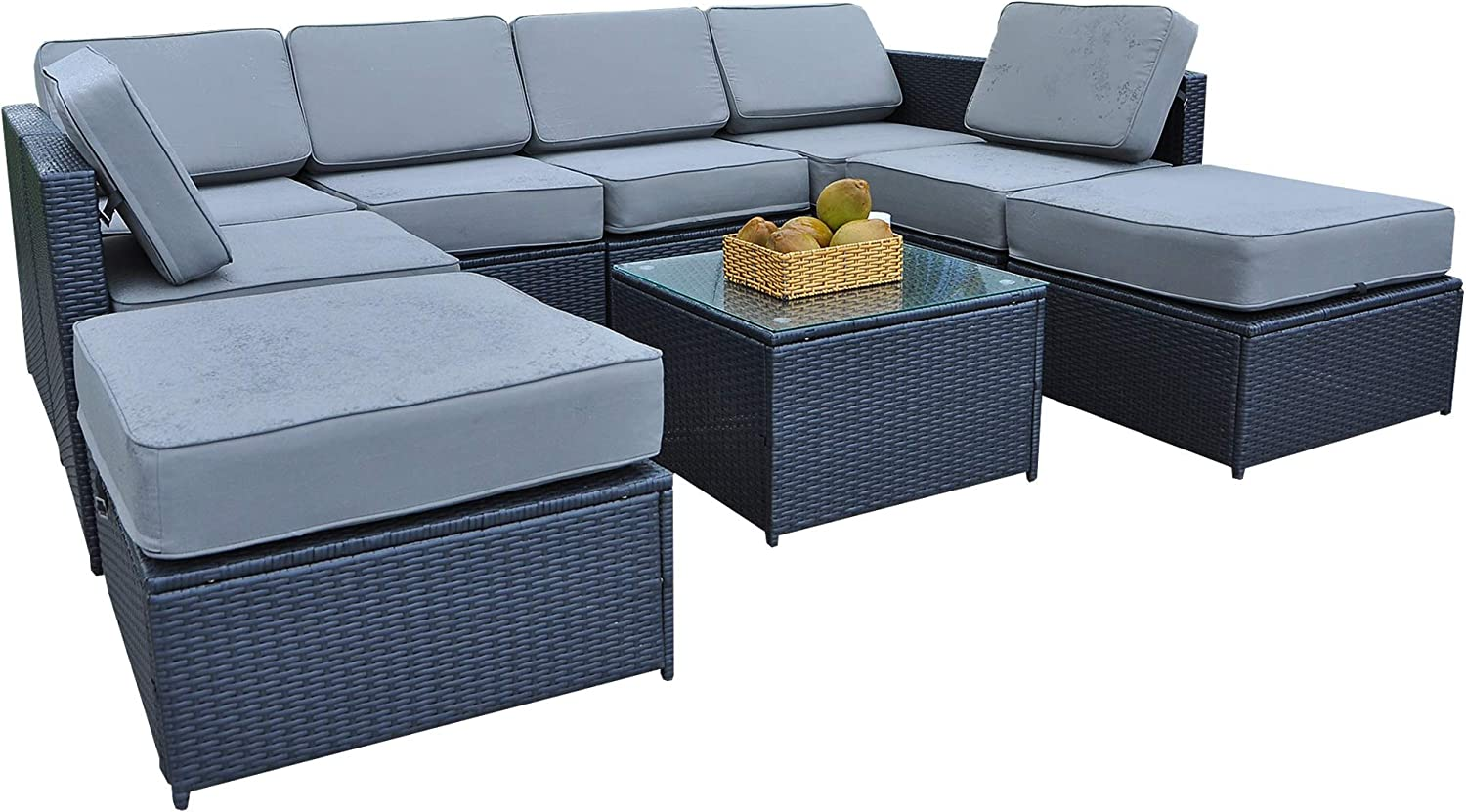 Mcombo Patio Furniture Sectional Wicker Sofa Set All-Weather Outdoor Black Rattan Conversation Chair Set with Thick Cushions 5.12Inch and Tea Table Black 6085-1009EY