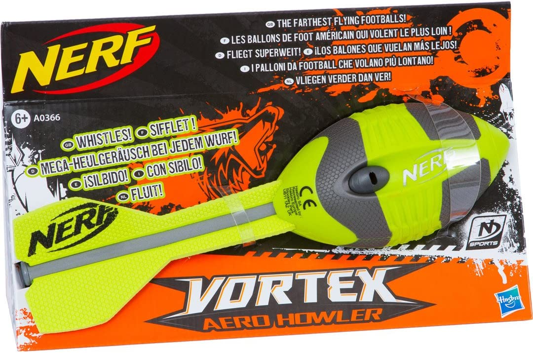 6/Year s /Toy Guns Nerf Sports Hasbro Nerf N-Sports Vortex Aero Howler Football/ Boy//Girl Silver Green 1/Piece s