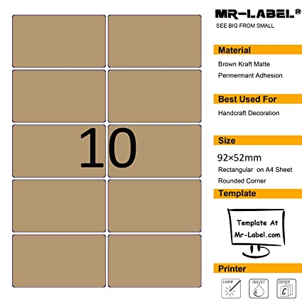 Amazon.com : Mr-Label Blank Kraft Labels -Self Adhesive Stickers for ...