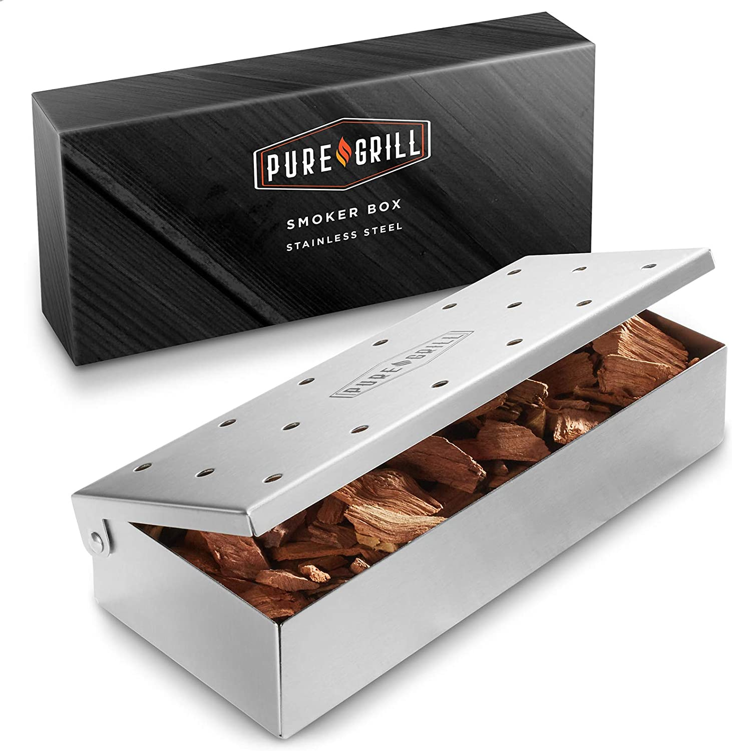 Pure Grill BBQ Smoker Box - Heavy DutyStainless Steelwith Hinged Lid for Wood Chips - BarbecueMeat Smoking for Charcoal and Gas Grills: Garden & Outdoor