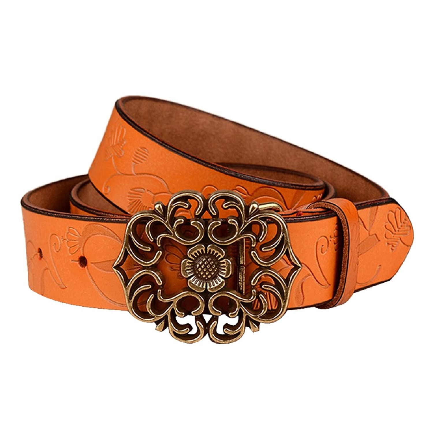 Ularmo Women Girl Flower Antique Palace Retro Fashion Waist Leather Belt