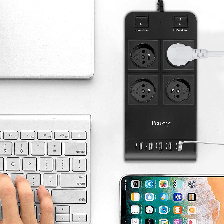 Steckdosenleiste mit USB Schwarz 4