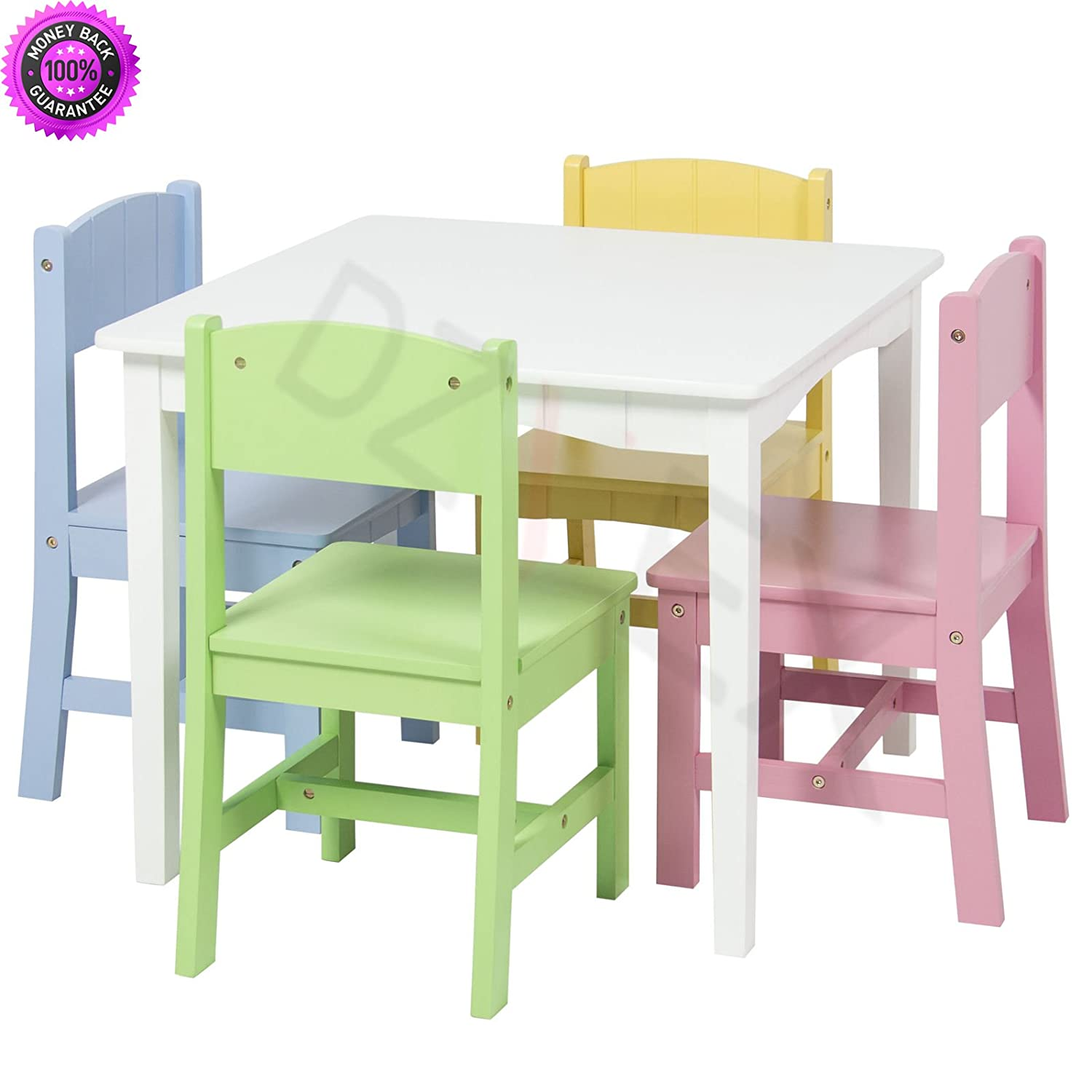 Amazoncom Dzvex Wooden Kids Table And 4 Chairs Set Furniture