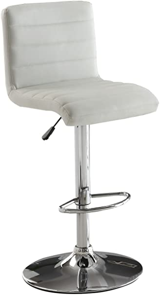 Furniture of America Milano Adjustable Leatherette Bar Stool White