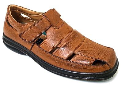 f5e147837e9a Veeko 2A7203 Men s Closed Toe Dress Sandals Fisherman Huaraches Hook and  Loop Casual Slip-on