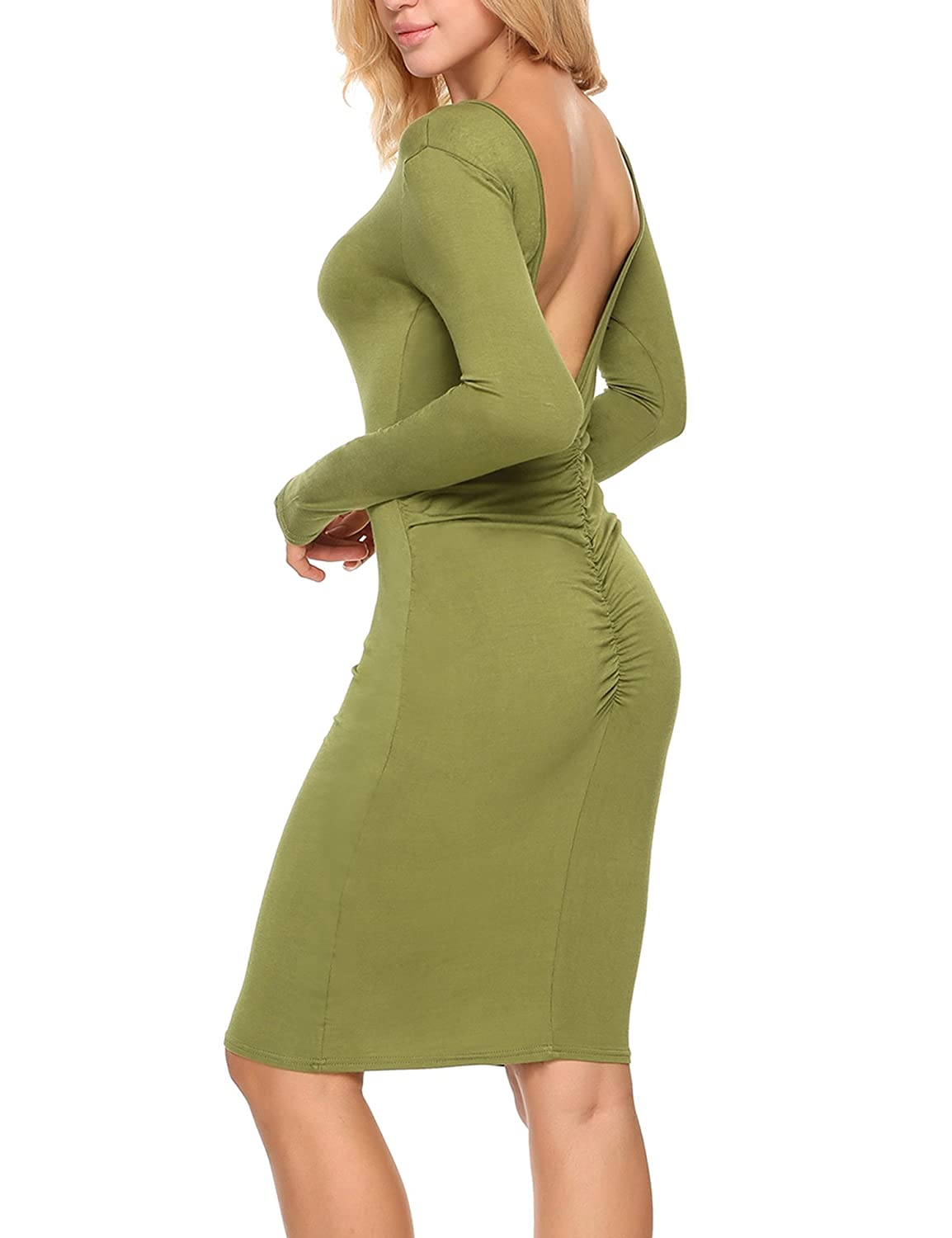 31dfb9af3150 Women sexy stand neck long sleeve slim solid pencil dress. Garment Care:  Washing max 30℃, Hang to dry, Low iron. Backless design, rib dress, pull on  closure