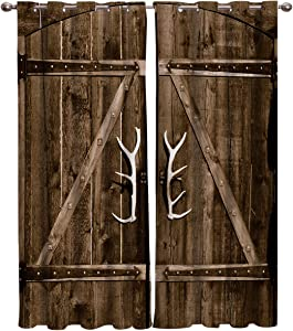 Vandarllin Decorative Curtains Sets of 2 Panels, Country Rustic Antler Wooden Barn Doors Window Curtains and Drapes for Home Living Room Bedroom Kitchen Party Backdrop (40X63X2 Panels)