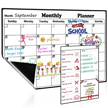 Magnetic Dry Erase Calendar for Refrigerator Weekly and Monthly Planner Set  2019-2020 Fridge Calendar Kitchen Magnets Large Whiteboard Erasable Meal