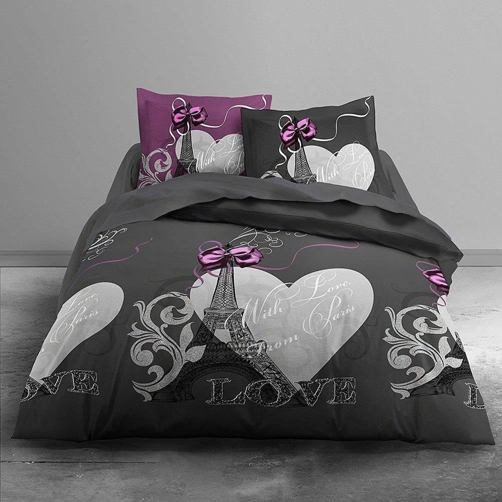 housse de couette grise et rose housse de couette 2 personnes 220x240 et 2 taies gris ange. Black Bedroom Furniture Sets. Home Design Ideas