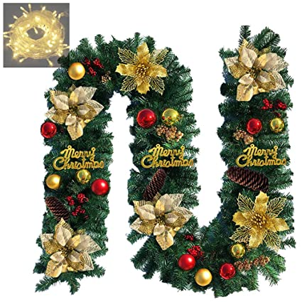 Anotherme 9 Ft Long Christmas Garland With Gold Flowers Red Gold Balls Flocked Cones And 50 Clear Lights Artificial Pine Rope Garland Wreath For