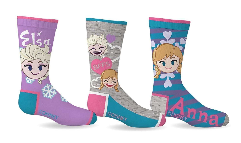 Disney Emoji Girls Frozen 3-Pack Crew Socks