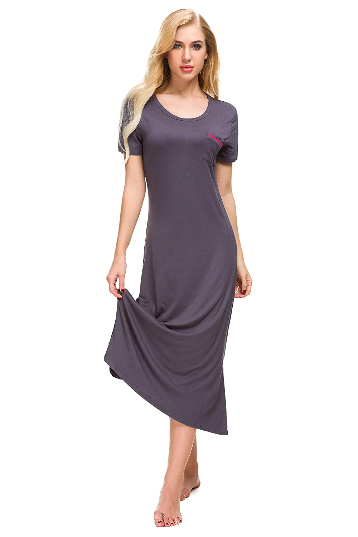 M-anxiu Womens Soft Nightgown Short Sleeve Full Slip Dress Cotton Sleepwear S-XXL