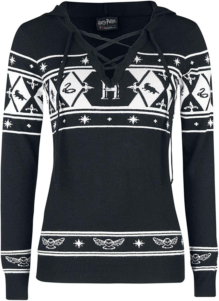 HARRY POTTER Hogwarts Mujer Jersey de Punto Negro-Blanco XS ...