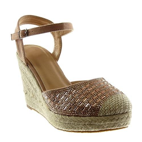 Rosa 39 EU Angkorly Scarpe Moda Sandali con Cinturino Alla Caviglia Donna 70t