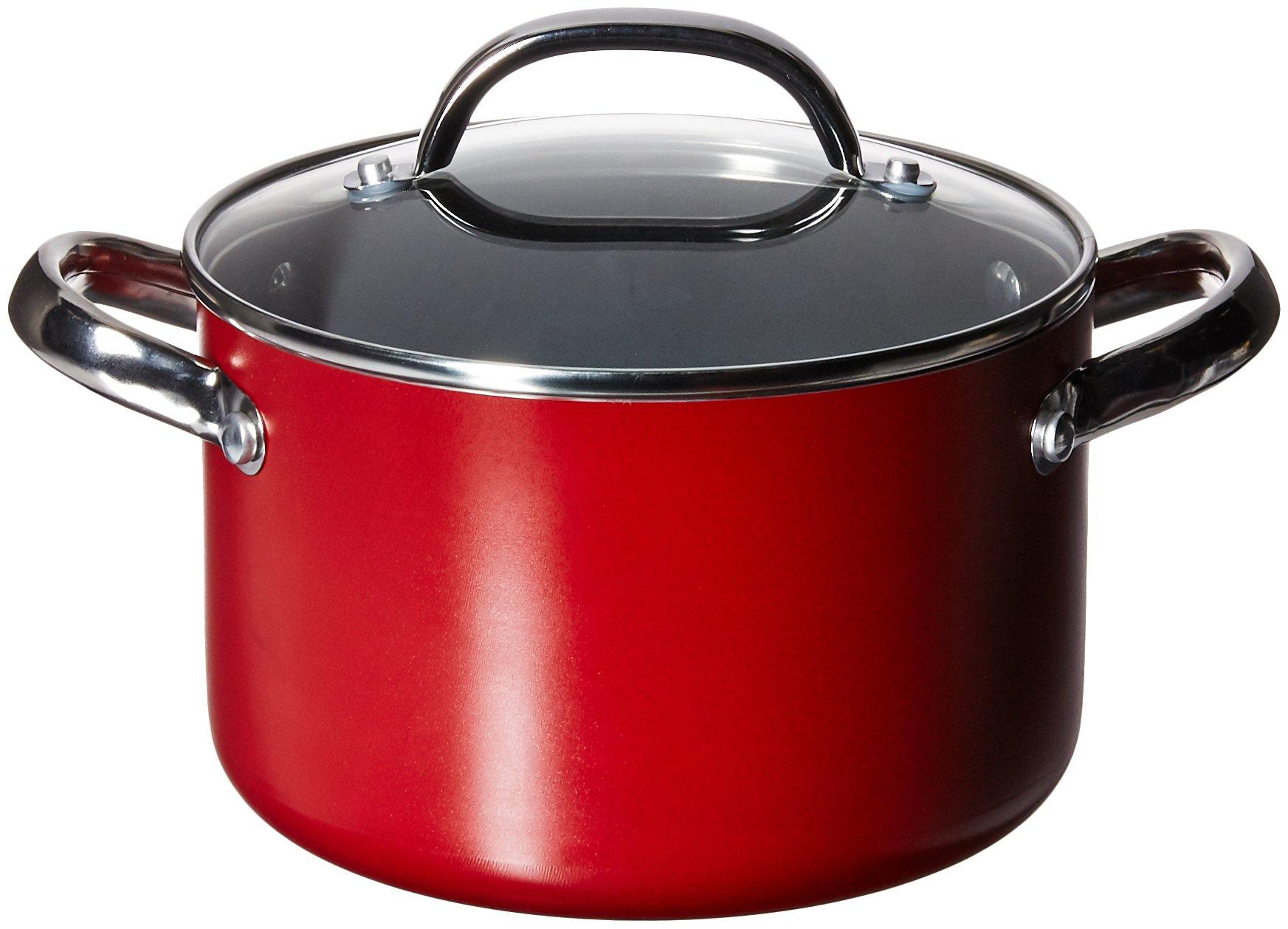 Farberware Buena Cocina Aluminum Nonstick Covered Soup Pot, 4-Quart, Red by Farberware