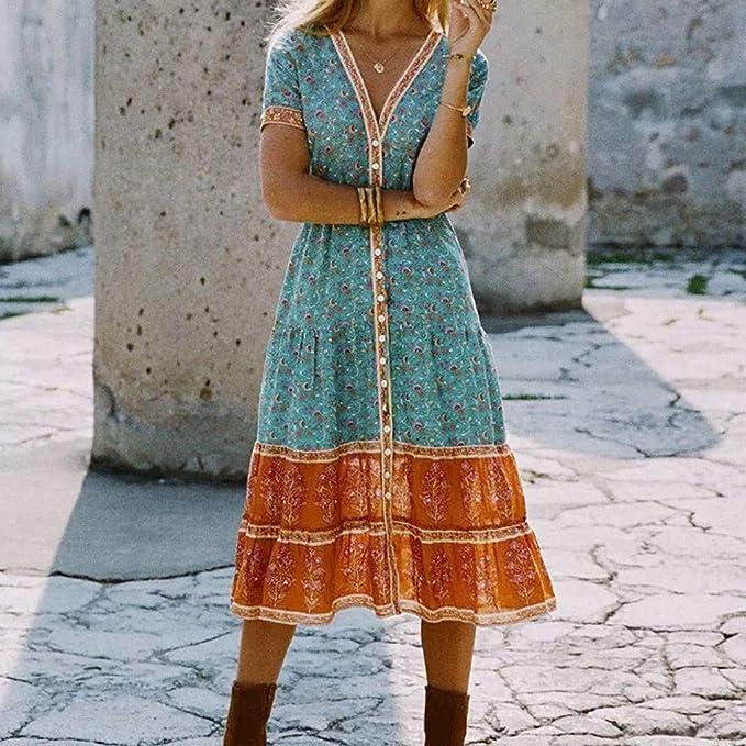 Vimoli sukienka damska, na urlop, lato, w stylu boho, na wieczÓr, na imprezę, na plażę, na czas wolny, modna sukienka midi: Odzież