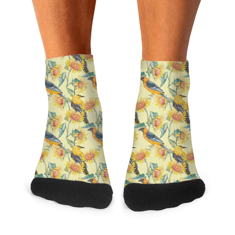 Floowyerion Mens Dwarf Sunflower and Birds Decorations Novelty Sports Socks Crazy Funny Crew Tube Socks