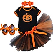 Baby Girls 4PCs My First Halloween Costumes Christmas Baptism Tutu Outfits Skirt Romper Bodysuit Headband Shoes Set