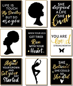 9 Pieces African American Black Woman Wall Prints Black Girl Inspirational Quotes Wall Decor Art Posters Empowered Phenomenal Women Wall Decoration for Home Office Bedroom,Unframed, 8 x 10 Inch