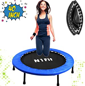 """N1Fit 40"""" Mini Trampoline for Adults - Exercise Trampoline, Mini Trampolines, Personal Trampoline, Trampoline Small Indoor, Rebounding Tiny Trampoline with Springs System for Home Cardio Workouts"""