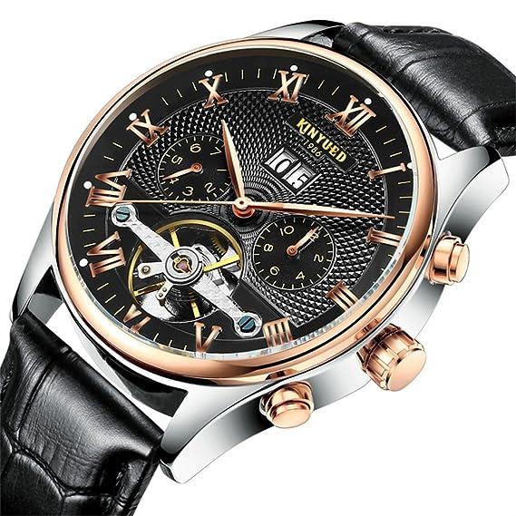 Moda Lujo Tourbillon Reloj Mecánico Automático Calendario Correa de cuero Relojes de pulsera para hombres, Negro: Amazon.es: Relojes
