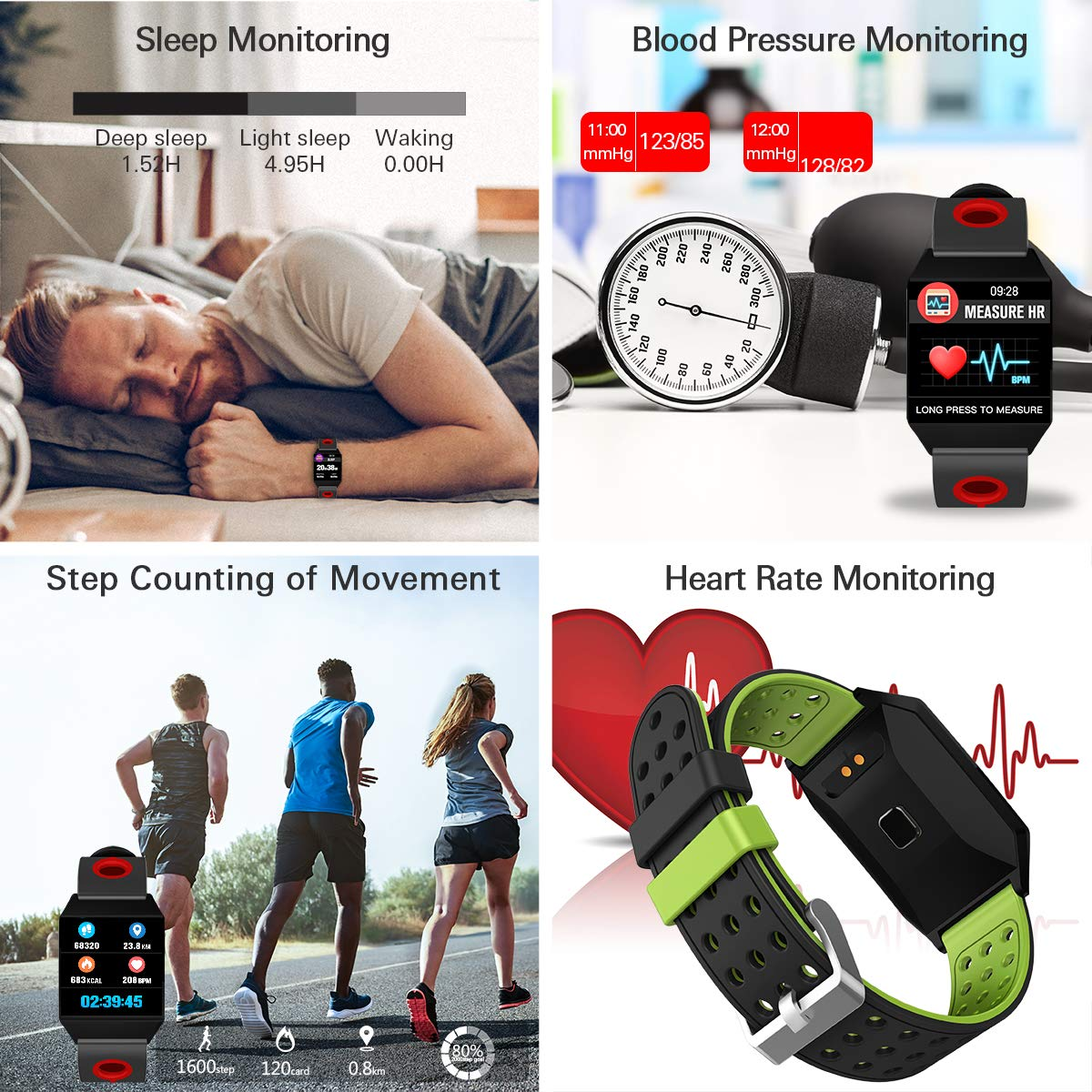 CatShin Pulsera Actividad Mujer CS04 Reloj Inteligente Hombre Niños Impermeable IP68 Pulsera Deportiva con Pulsómetro Monitor de Ritmo Cardíaco Podómetro ...
