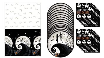 Amazon Com Nightmare Before Christmas Tablecloth Paper Plates