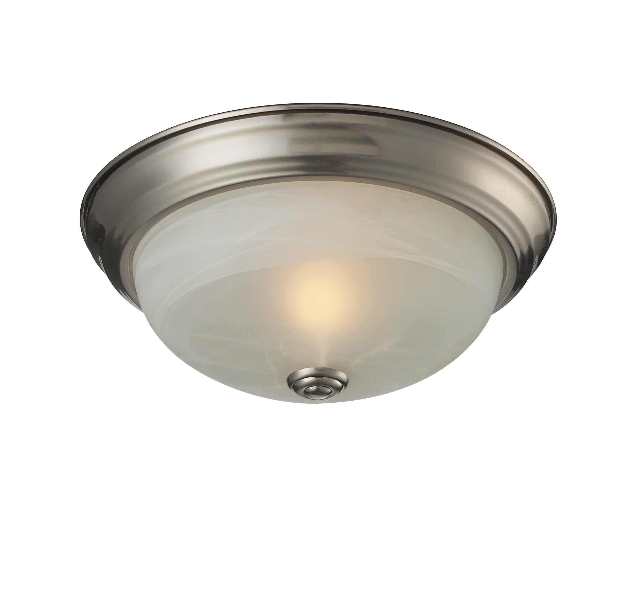 Z-Lite 2110F1 Athena One light ceiling, Steel Frame, Brushed nickel Finish and White Swirl Shade of Glass Material
