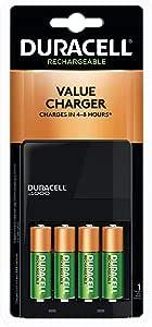 Duracell - Ion Speed 1000 Cargador de batería con 4 baterías AA - cargador para AA y AAA