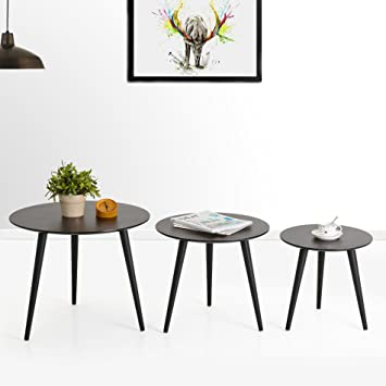 Homury Coffee Table Round Set Of 3 End Side Table Wood Nesting Corner Table  Sofa Table