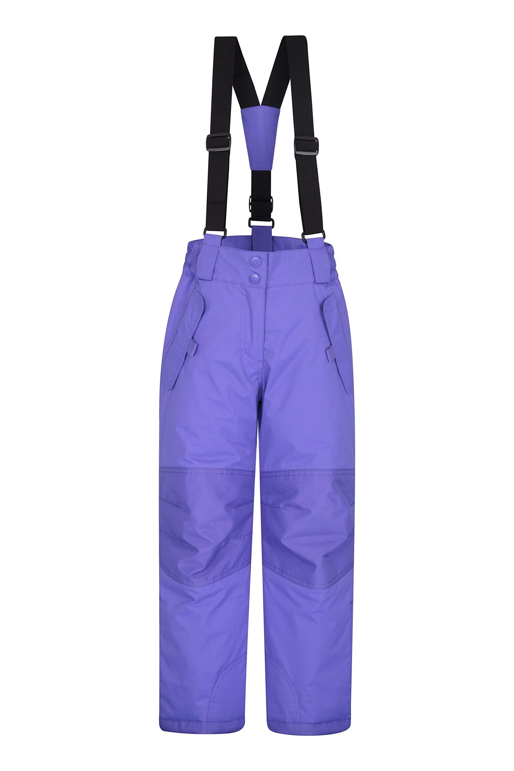 Mountain Warehouse Honey Kids Snow Pants - Ski Bibs, Suspenders Light Purple 5-6 Years by Mountain Warehouse