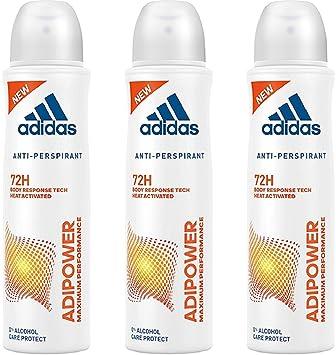 adidas adipower Deo Bodyspray für Damen, Deodorant ohne Alkohol für 72h effektiven Deo Schutz, pH hautfreundlich, 3 x 150 ml