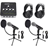Samson Podcast Podcasting Bundle w/(2) Mics+Stands+Headphones+Amplifier