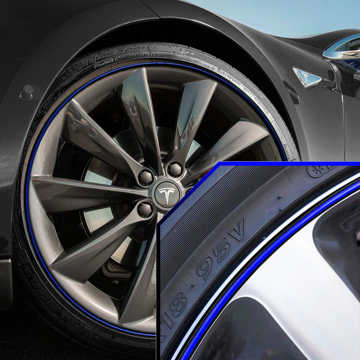 Upgrade Your Auto Wheel Bands Blue in Black Pinstripe Rim Edge Trim for Tesla S (Full Kit) by Upgrade Your Auto