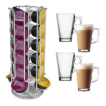 Soporte para 24 cápsulas de café Dolce Gusto + 4 vasos Latte: Amazon.es: Hogar