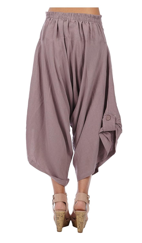 ae08253d106 Bella blue Women s Linen harem pants MIRA - Blue -  Amazon.co.uk  Clothing