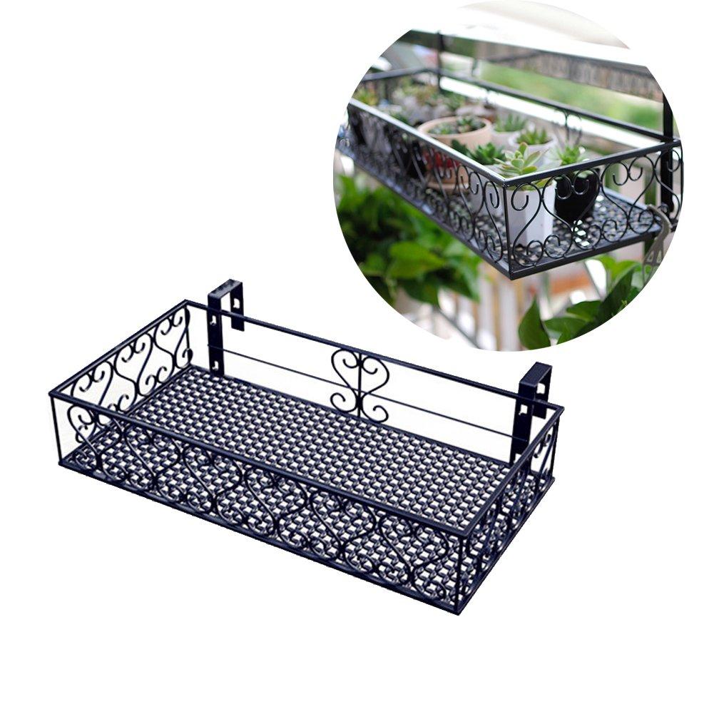 Ibnotuiy Metal Balcony Plant Pot Stand Hanging Planter Flower Pot Holder Rack Railing Shelf (Large, Black)