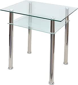 ts-ideen - Mesa de comedor (cristal, 80 x 60 cm, esquinas
